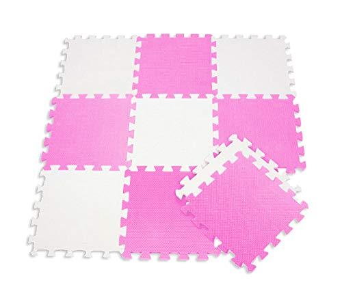 Vetrineinrete Tappeto Puzzle Bambini Morbido Da Comporre 10 Pezzi In Schiuma Antiurto Lavabile Superficie Di Gioco Bianco E Rosa G75 0