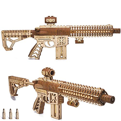 Wood Trick Puzzle Di Legno Puzzle 3d Pistola Di Assalto Ar T 0