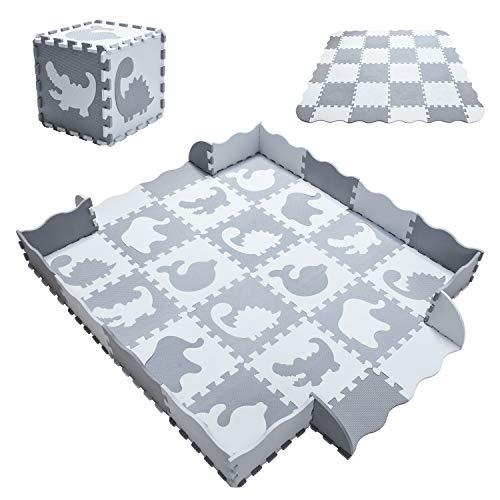 Yostrong Tappeto Bambini Morbido Tappeto Gioco Bambino Tappetino Bambini Puzzle 196 16 Pezzi 30301cm 20 Accessori Circostanti Animale Bianco Grigioyp 52al B16f20 0