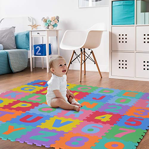 Homcom Tappeto Gioco 36 Pezzi Tappeto Puzzle 26 Lettere Dellalfabeto E Numeri Da 0 A 9 Tuv 0 0