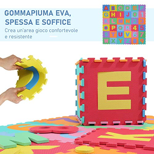 Homcom Tappeto Gioco 36 Pezzi Tappeto Puzzle 26 Lettere Dellalfabeto E Numeri Da 0 A 9 Tuv 0 2