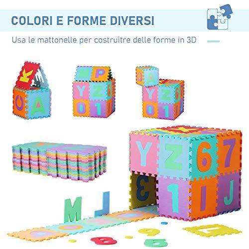 Homcom Tappeto Gioco 36 Pezzi Tappeto Puzzle 26 Lettere Dellalfabeto E Numeri Da 0 A 9 Tuv 0 3