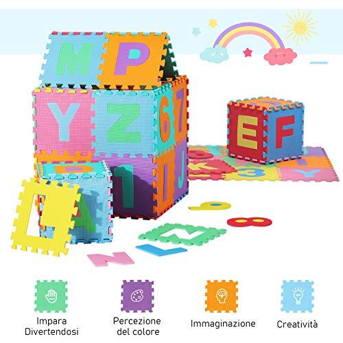 Homcom Tappeto Gioco 36 Pezzi Tappeto Puzzle 26 Lettere Dellalfabeto E Numeri Da 0 A 9 Tuv 0 4