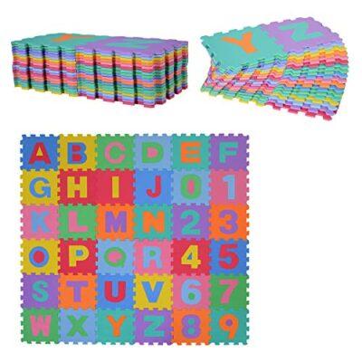 Homcom Tappeto Gioco 36 Pezzi Tappeto Puzzle 26 Lettere Dellalfabeto E Numeri Da 0 A 9 Tuv 0