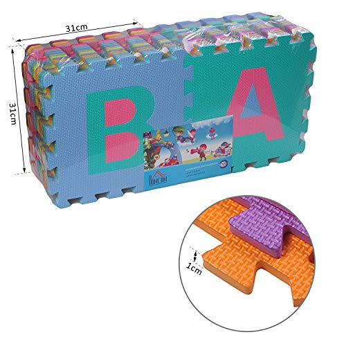 Homcom Tappeto Gioco 36 Pezzi Tappeto Puzzle 26 Lettere Dellalfabeto E Numeri Da 0 A 9 Tuv 0 5