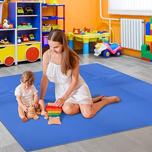 Homcom Tappeto Puzzle Gioco Per Bambini Cameretta 32 Pezzi In Eva Morbido Ecologico Atossico Blu 6363cm 0 0