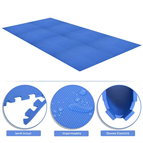 Homcom Tappeto Puzzle Gioco Per Bambini Cameretta 32 Pezzi In Eva Morbido Ecologico Atossico Blu 6363cm 0 2