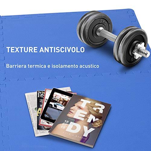 Homcom Tappeto Puzzle Gioco Per Bambini Cameretta 32 Pezzi In Eva Morbido Ecologico Atossico Blu 6363cm 0 3