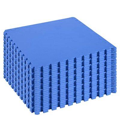 Homcom Tappeto Puzzle Gioco Per Bambini Cameretta 32 Pezzi In Eva Morbido Ecologico Atossico Blu 6363cm 0