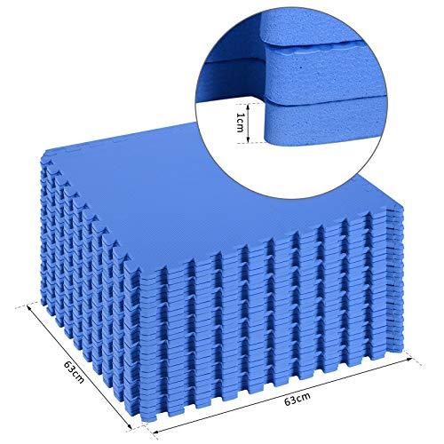Homcom Tappeto Puzzle Gioco Per Bambini Cameretta 32 Pezzi In Eva Morbido Ecologico Atossico Blu 6363cm 0 5