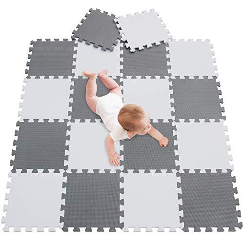 Meiqicool Tappeto Puzzle Bambini Gioco Bianco E Grigio142 X 114cm18 Pezzi 0 0