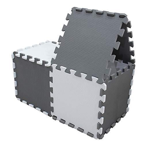 Meiqicool Tappeto Puzzle Bambini Gioco Bianco E Grigio142 X 114cm18 Pezzi 0 1