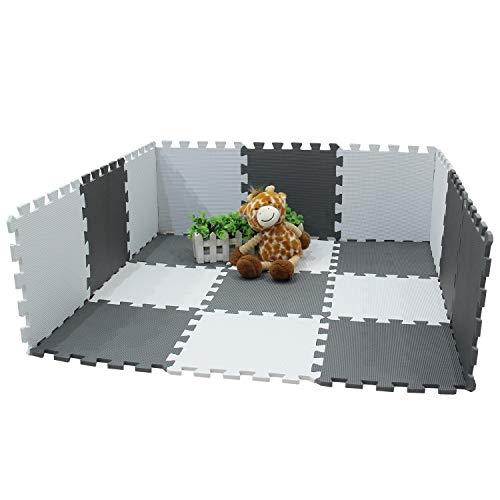 Meiqicool Tappeto Puzzle Bambini Gioco Bianco E Grigio142 X 114cm18 Pezzi 0 2