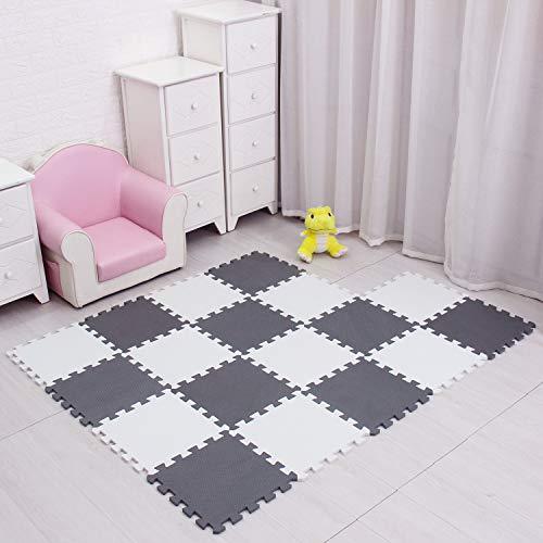 Meiqicool Tappeto Puzzle Bambini Gioco Bianco E Grigio142 X 114cm18 Pezzi 0 3