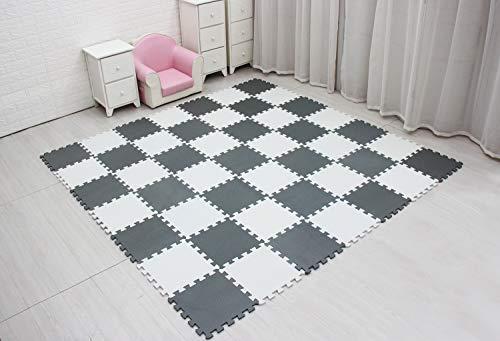 Meiqicool Tappeto Puzzle Bambini Gioco Bianco E Grigio142 X 114cm18 Pezzi 0 4