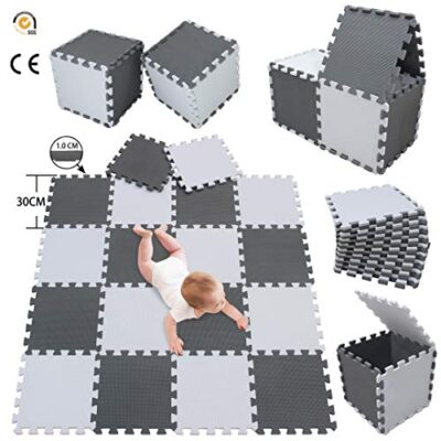 Meiqicool Tappeto Puzzle Bambini Gioco Bianco E Grigio142 X 114cm18 Pezzi 0