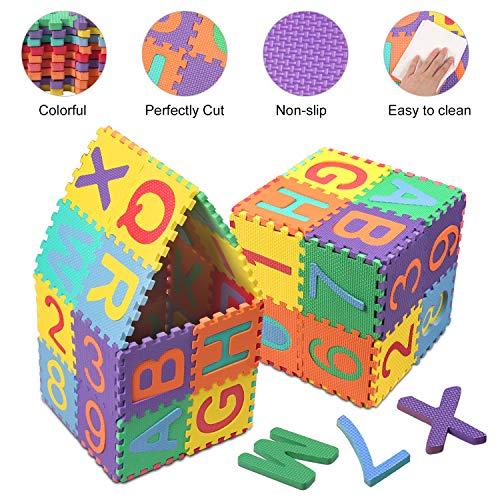 Swonuk 36 Pezzi Puzzle Mat Atossici Schiuma Per Bambini Alfabeti E Numeri Puzzle Per Bambini Mat 15 15 Cm Pz 0 0