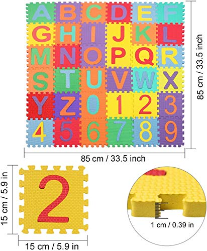 Swonuk 36 Pezzi Puzzle Mat Atossici Schiuma Per Bambini Alfabeti E Numeri Puzzle Per Bambini Mat 15 15 Cm Pz 0 1