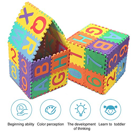 Swonuk 36 Pezzi Puzzle Mat Atossici Schiuma Per Bambini Alfabeti E Numeri Puzzle Per Bambini Mat 15 15 Cm Pz 0 2