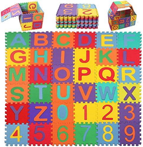 Swonuk 36 Pezzi Puzzle Mat Atossici Schiuma Per Bambini Alfabeti E Numeri Puzzle Per Bambini Mat 15 15 Cm Pz 0