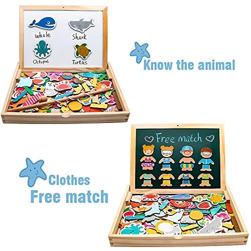 Yoptote 120 Pezzi Puzzle Magnetico Legno Giocattoli In Legno Magnetico Lavagna Con Double Face Giochi Puzzle Montessori Magnetica Pesca Marino Creativi Costruzioni Per Bambini 3 4 5 Anni 0 0