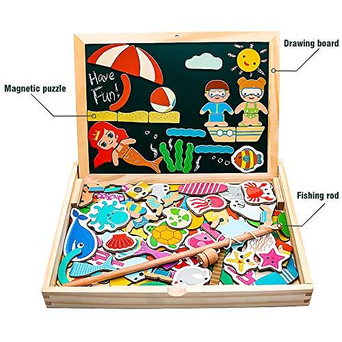 Yoptote 120 Pezzi Puzzle Magnetico Legno Giocattoli In Legno Magnetico Lavagna Con Double Face Giochi Puzzle Montessori Magnetica Pesca Marino Creativi Costruzioni Per Bambini 3 4 5 Anni 0 1