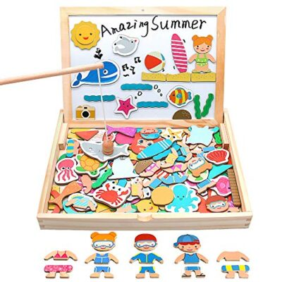 Yoptote 120 Pezzi Puzzle Magnetico Legno Giocattoli In Legno Magnetico Lavagna Con Double Face Giochi Puzzle Montessori Magnetica Pesca Marino Creativi Costruzioni Per Bambini 3 4 5 Anni 0