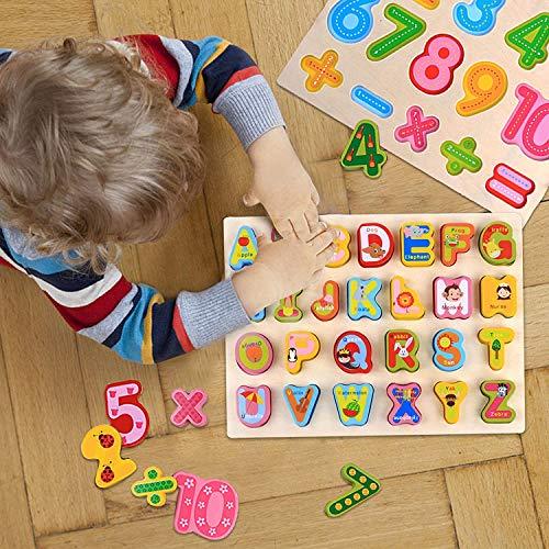 0best Mattoncini Legno 2 Pezzi Numeri Di Lettere Abc Colorati Puzzle In Legno Impilabili Per La Scuola Materna Educazione E Sviluppo Della Prima Infanzia 0 3