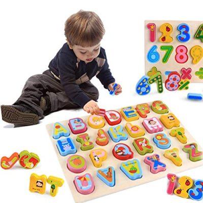 0best Mattoncini Legno 2 Pezzi Numeri Di Lettere Abc Colorati Puzzle In Legno Impilabili Per La Scuola Materna Educazione E Sviluppo Della Prima Infanzia 0
