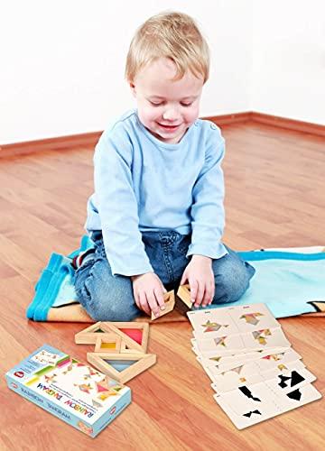 Bohs Arcobaleno Tangram Con Biglietti Di Attivita Puzzle Di Dimensioni Grosse Per Bambini E Bambini 0 2