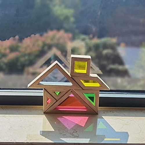 Bohs Arcobaleno Tangram Con Biglietti Di Attivita Puzzle Di Dimensioni Grosse Per Bambini E Bambini 0 3