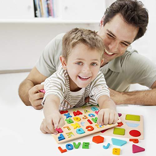 Ballery Puzzle Di Legno 3 Pezzi Blocchi Alfabeto In Legno Abc Puzzle Lettere Numero Educativo Giocattolo Giochi Set Per Bambini Ragazze Per Ragazzi 0 0