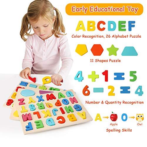 Ballery Puzzle Di Legno 3 Pezzi Blocchi Alfabeto In Legno Abc Puzzle Lettere Numero Educativo Giocattolo Giochi Set Per Bambini Ragazze Per Ragazzi 0 1