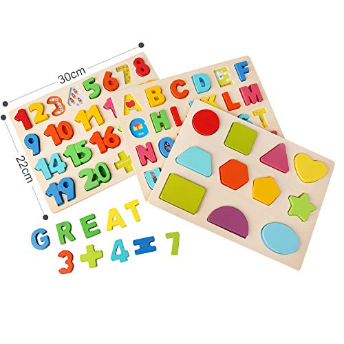 Ballery Puzzle Di Legno 3 Pezzi Blocchi Alfabeto In Legno Abc Puzzle Lettere Numero Educativo Giocattolo Giochi Set Per Bambini Ragazze Per Ragazzi 0 3