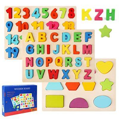 Ballery Puzzle Di Legno 3 Pezzi Blocchi Alfabeto In Legno Abc Puzzle Lettere Numero Educativo Giocattolo Giochi Set Per Bambini Ragazze Per Ragazzi 0