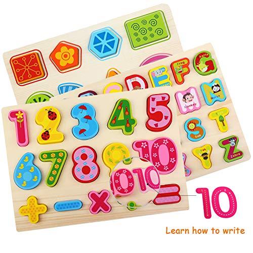 Bellestyle Giocattoli Educativi 2 Anni Blocchi Alfabeto In Legno Lettere Abc Numeri Forme Puzzle Alfabeto Giochi Montessori 1 Anno Giocattolo Educativo Per Bambini Ragazze Ragazzi 3 Pack 0 1
