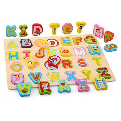 Bellestyle Giocattoli Educativi 2 Anni Blocchi Alfabeto In Legno Lettere Abc Numeri Forme Puzzle Alfabeto Giochi Montessori 1 Anno Giocattolo Educativo Per Bambini Ragazze Ragazzi 3 Pack 0 2