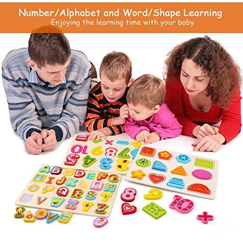 Bellestyle Giocattoli Educativi 2 Anni Blocchi Alfabeto In Legno Lettere Abc Numeri Forme Puzzle Alfabeto Giochi Montessori 1 Anno Giocattolo Educativo Per Bambini Ragazze Ragazzi 3 Pack 0 3