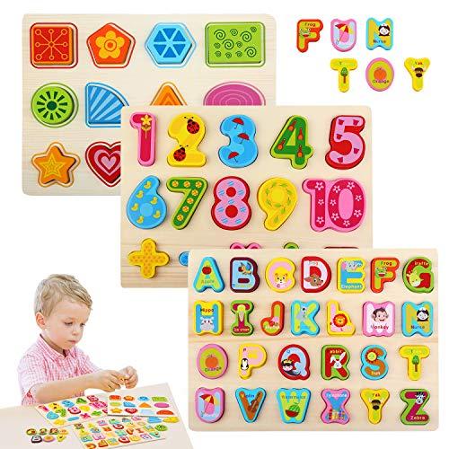 Bellestyle Giocattoli Educativi 2 Anni Blocchi Alfabeto In Legno Lettere Abc Numeri Forme Puzzle Alfabeto Giochi Montessori 1 Anno Giocattolo Educativo Per Bambini Ragazze Ragazzi 3 Pack 0