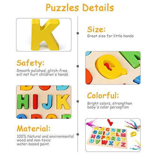 Bellestyle Puzzle In Legno Multicolore Alfabeto Abc Lettere Numeri Forme In Legno Puzzle Tavoletta Manopola Montessori Apprendimento Precoce Educativo Giocattoli Giochi Set Per Bambini 3 Pezzi 0 1