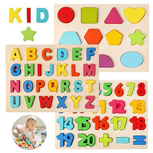 Bellestyle Puzzle In Legno Multicolore Alfabeto Abc Lettere Numeri Forme In Legno Puzzle Tavoletta Manopola Montessori Apprendimento Precoce Educativo Giocattoli Giochi Set Per Bambini 3 Pezzi 0