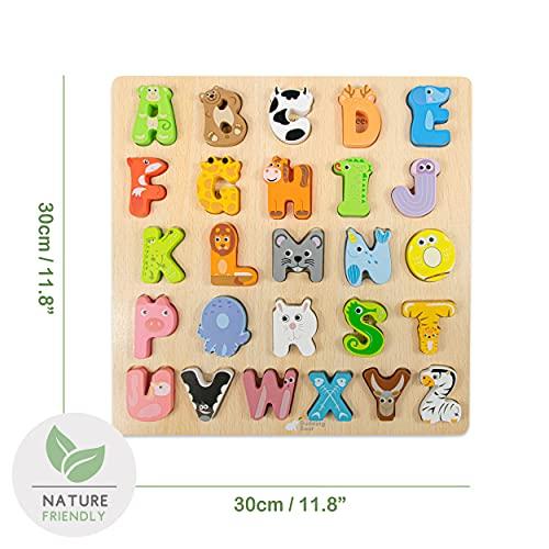 Budding Bear Puzzle Lettere Alfabeto Inglese Con Animali 100 Lettere Alfabeto Legno Naturale No Chimica Plastica O Tossine Alfabetiere Bambini 26pz Giocattoli In Legno Per Bambini 3 Anni 0 0
