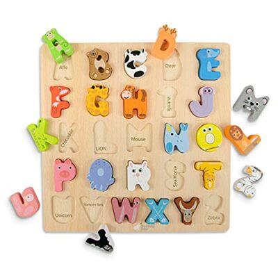 Budding Bear Puzzle Lettere Alfabeto Inglese Con Animali 100 Lettere Alfabeto Legno Naturale No Chimica Plastica O Tossine Alfabetiere Bambini 26pz Giocattoli In Legno Per Bambini 3 Anni 0