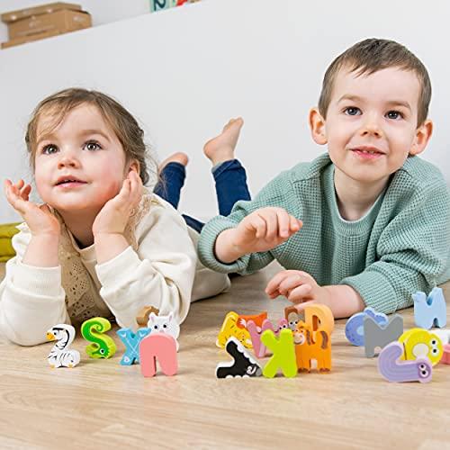 Budding Bear Puzzle Lettere Alfabeto Inglese Con Animali 100 Lettere Alfabeto Legno Naturale No Chimica Plastica O Tossine Alfabetiere Bambini 26pz Giocattoli In Legno Per Bambini 3 Anni 0 5