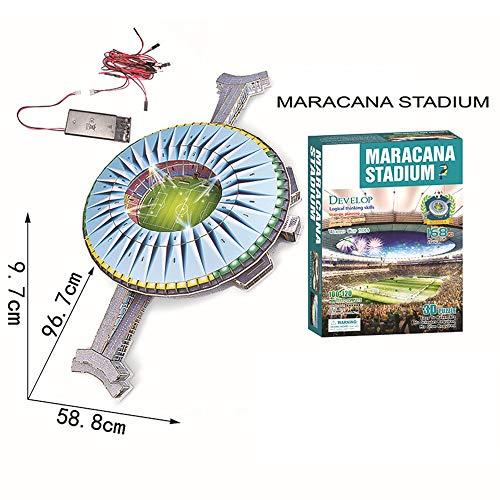 Campo Da Calcio Brasile Maracana Con Luci A Led Modello Artificiale Modello Da Stadio Sportivo 3d Fans Souvenir Puzzle Fai Da Te 39 23 4 0 0