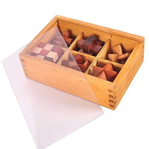 Chonor 6 Pezzi Premium 3d Puzzle Rompicapo In Legno Con Scatola Di Legno Classico Kongming Luban Lock Logica Gioco Di Cube Per Bambini E Adulti Perfetto Regalo E Idea Decorazione 0 0