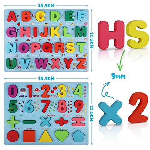 Coolzon Legno Puzzle Alfabeto In Legno Abc Lettere E Numero Apprendimento Precoce Giocattolo Educativo Giocattoli 2 Pezzi Legno Giochi Per Bambini Toddler 0 1