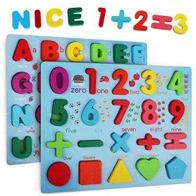 Coolzon Legno Puzzle Alfabeto In Legno Abc Lettere E Numero Apprendimento Precoce Giocattolo Educativo Giocattoli 2 Pezzi Legno Giochi Per Bambini Toddler 0