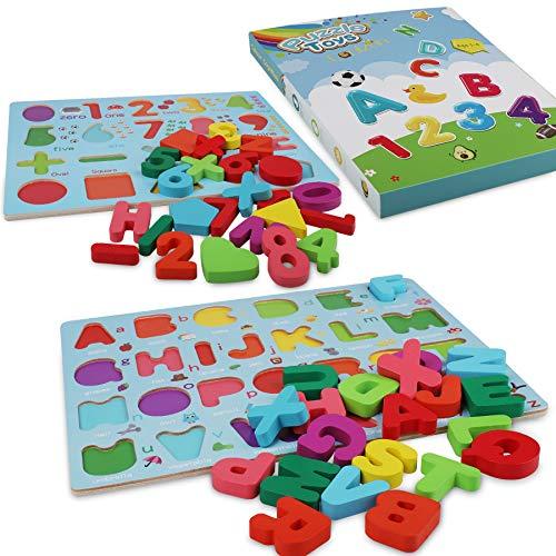 Coolzon Legno Puzzle Alfabeto In Legno Abc Lettere E Numero Apprendimento Precoce Giocattolo Educativo Giocattoli 2 Pezzi Legno Giochi Per Bambini Toddler 0 5