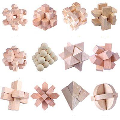 Coriver 12 Pezzi Rompicapo In Legno Puzzle Logica Puzzle Iq Test Challenge Gamestoy 3d Puzzle Ad Incastro Gioco Di Sbrogliamento Per Bambini Adolescenti Adulti 0